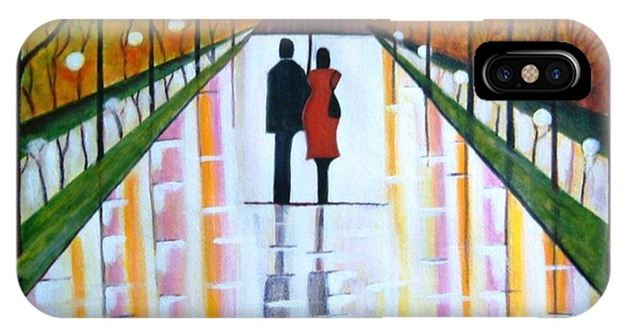 Romantic Painting Figures Romance Umbrella Rain Green Red Orange Grass People Lights Park Garden Tree Reflection Path Valentine Love IPhone X Case featuring the painting A Rainy Dayii by Manjiri Kanvinde