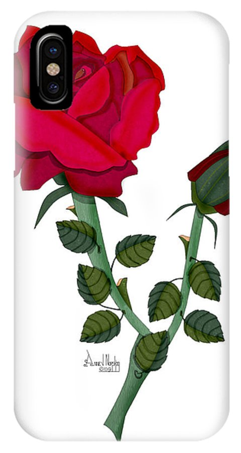 Rose IPhone X Case featuring the painting A Red Rose Blooms in Winter by Anne Norskog