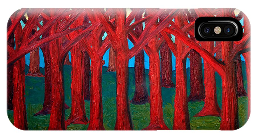 Abstract IPhone Case featuring the painting A Red Wood - Sold by Paul Anderson