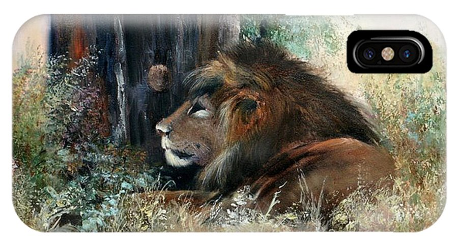 Lions IPhone X Case featuring the painting A Resting Monarch by Sally Seago