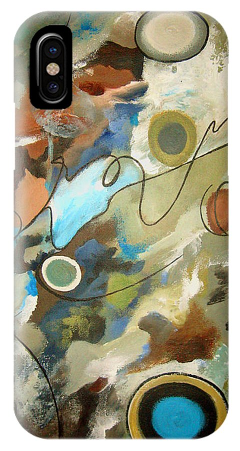 Abstract IPhone X Case featuring the painting A Rolling Stone Gathers No Moss by Ruth Palmer