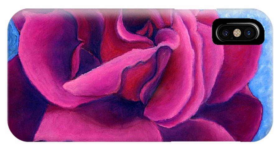 Rose. Pink Rose IPhone X Case featuring the painting A Rose Is A Rose.. by Minaz Jantz