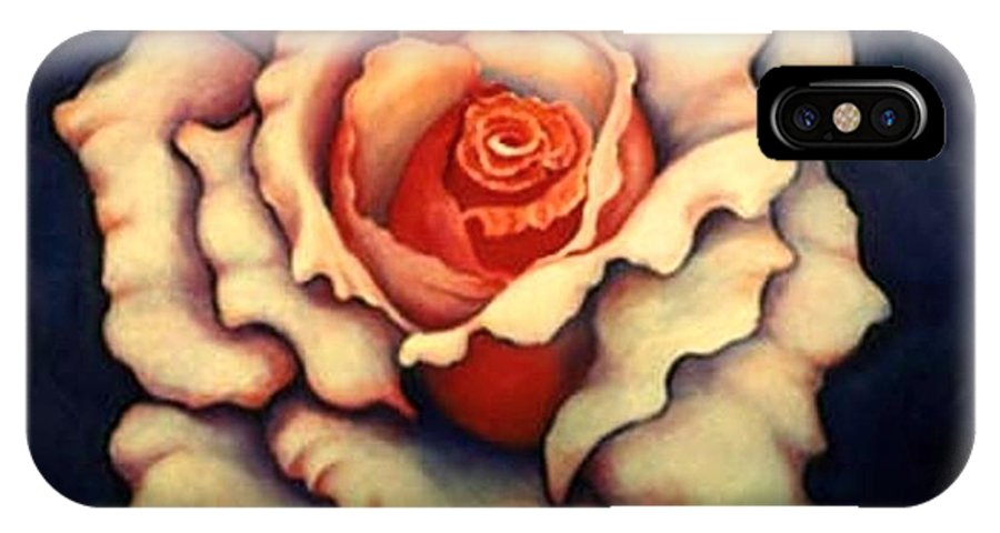 Flower IPhone X Case featuring the painting A Rose by Jordana Sands