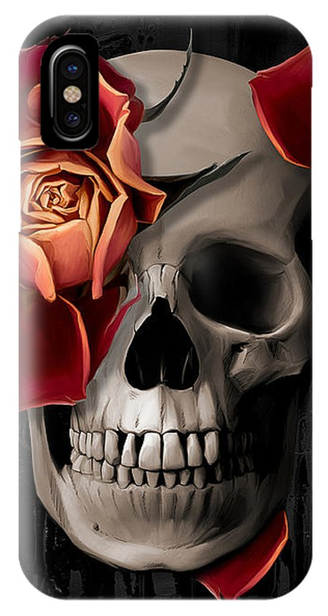 Skull IPhone X Case featuring the digital art A Rose On The Skull by Canvas Cultures