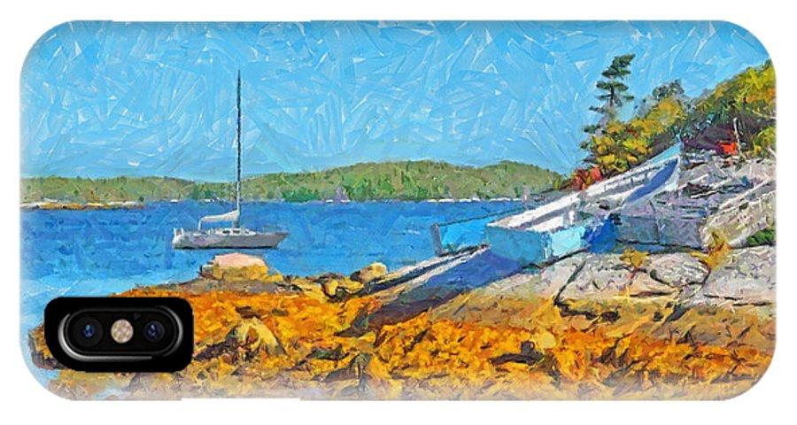 Sailboat IPhone X Case featuring the digital art A Sailboat Near Halifax Nova Scotia by Digital Photographic Arts