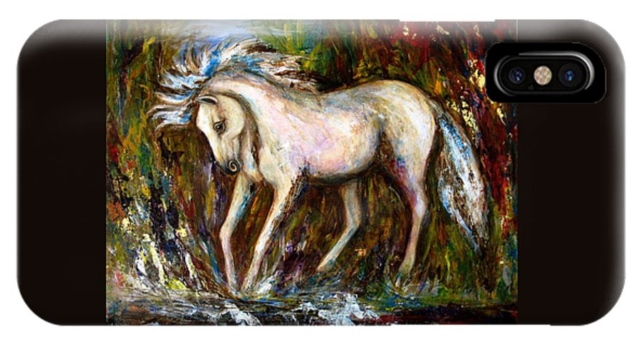 Horse Painting IPhone Case featuring the painting A Secret Place White Hores Painting by Frances Gillotti