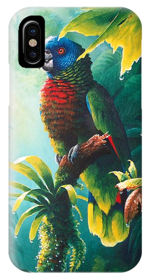 Chris Cox IPhone X Case featuring the painting A Shady Spot - St. Lucia Parrot by Christopher Cox