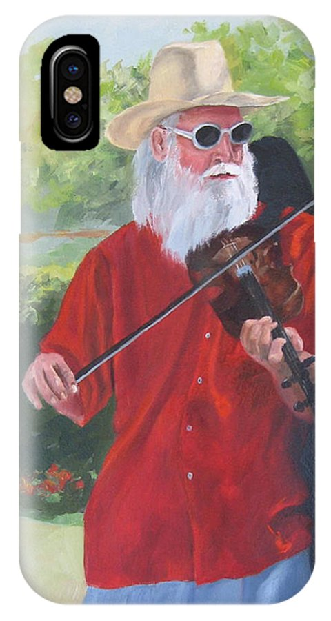 Slim IPhone X Case featuring the painting A Slim Fiddler For Peace by Connie Schaertl