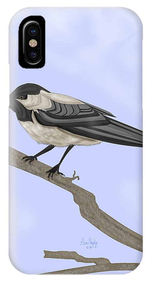 Bird IPhone X Case featuring the painting A Small Guest by Anne Norskog