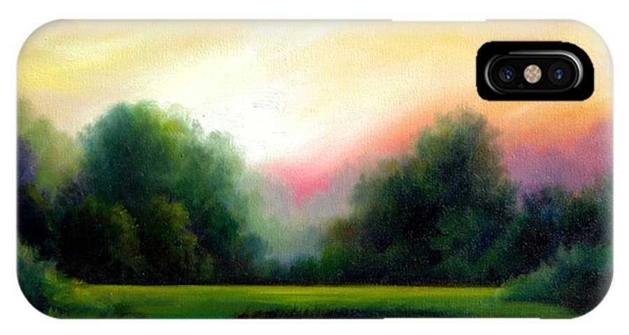 Clouds IPhone X Case featuring the painting A Spring Evening by James Christopher Hill