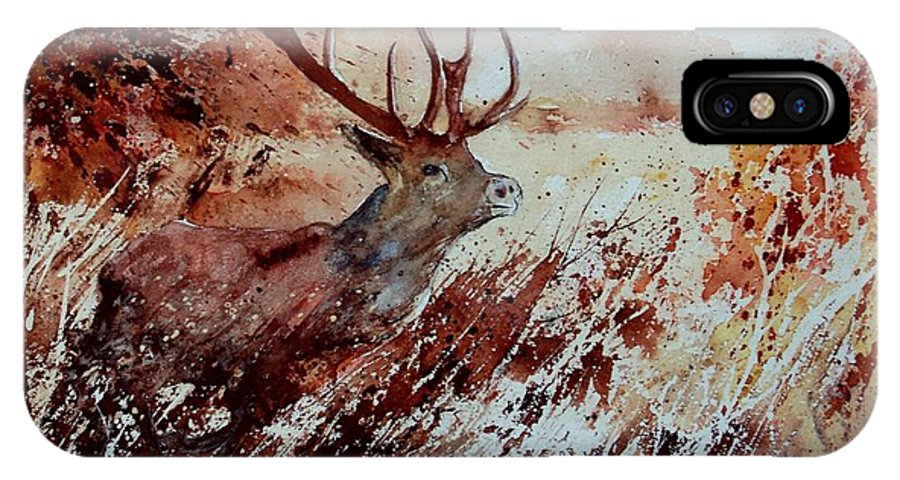 Animal IPhone X Case featuring the painting A Stag by Pol Ledent