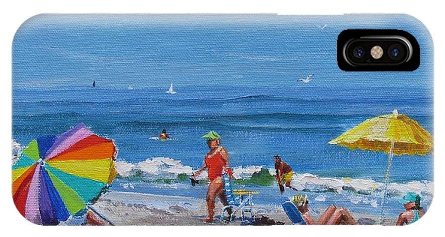 Beach Scene IPhone X Case featuring the painting A Summer by Laura Lee Zanghetti