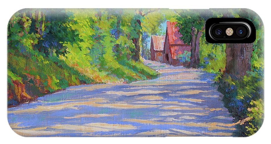 Landscape IPhone X Case featuring the painting A Summer Road by Keith Burgess