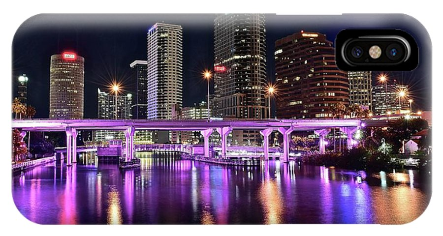 Tampa IPhone X Case featuring the photograph A Tampa Night by Frozen in Time Fine Art Photography