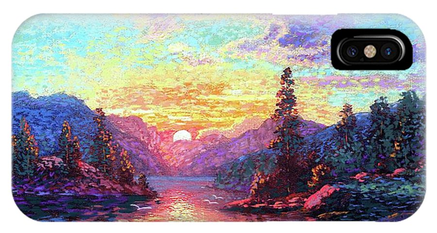 Sunset IPhone X Case featuring the painting A Time For Peace by Jane Small