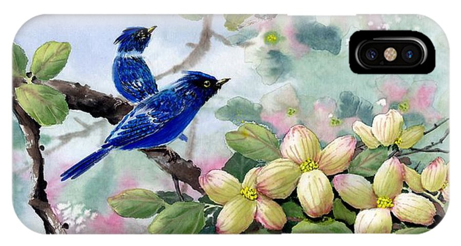 Blue Jays IPhone X Case featuring the painting A Touch Of Pink On White by Eileen Fong