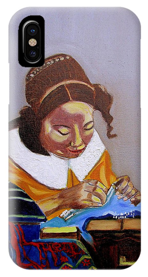 Pastiche IPhone X Case featuring the painting A Tribute To Vermeer The Lacemaker by Rusty Gladdish
