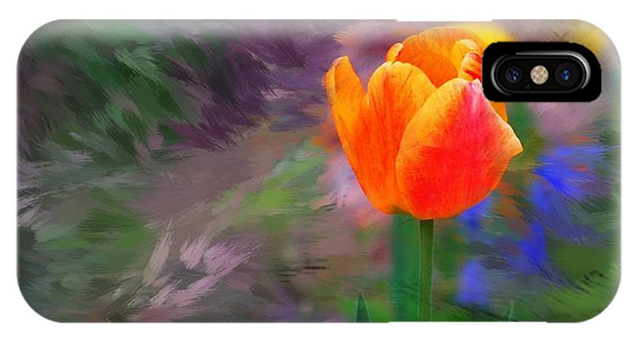 Floral IPhone X Case featuring the digital art A Tulip Stands Alone by David Lane
