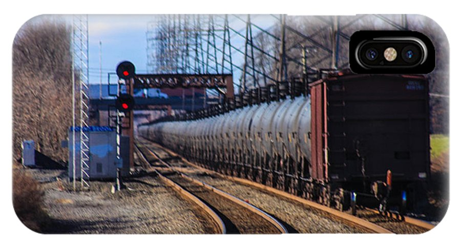 This Is A Long Line Of Tanker Cars Being Pulled By Two Csx Engines By The Bound Brook Train Station In New Jersey IPhone X Case featuring the photograph A Very Long Line Of Tanker Cars by William Rogers