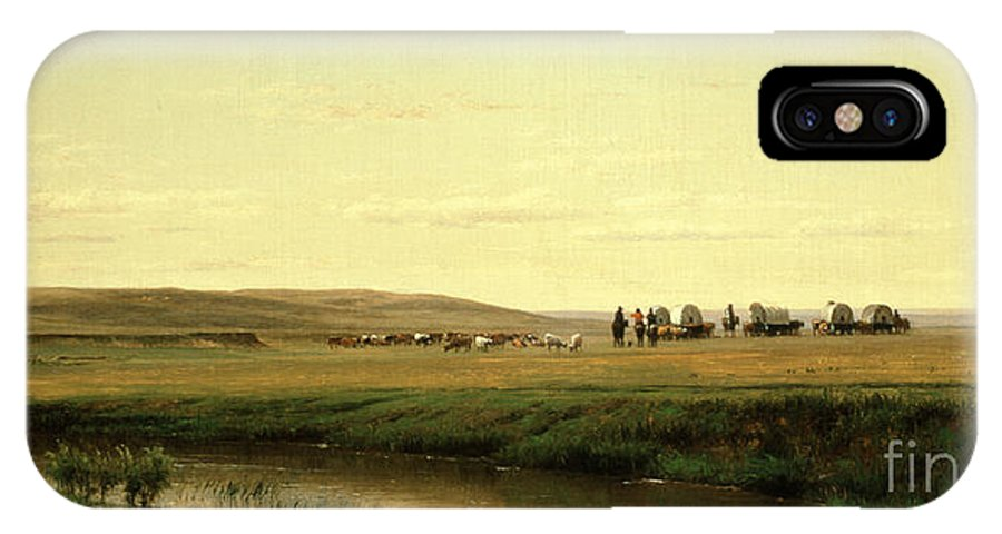 A Wagon Train On The Plains (oil On Board) By Thomas Worthington Whittredge (1820-1910) IPhone X Case featuring the painting A Wagon Train On The Plains by Thomas Worthington Whittredge