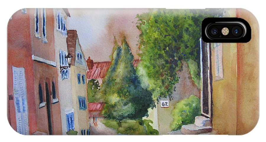 Cityscapes. Architecture IPhone X Case featuring the painting A Walk In The Village by Karen Stark