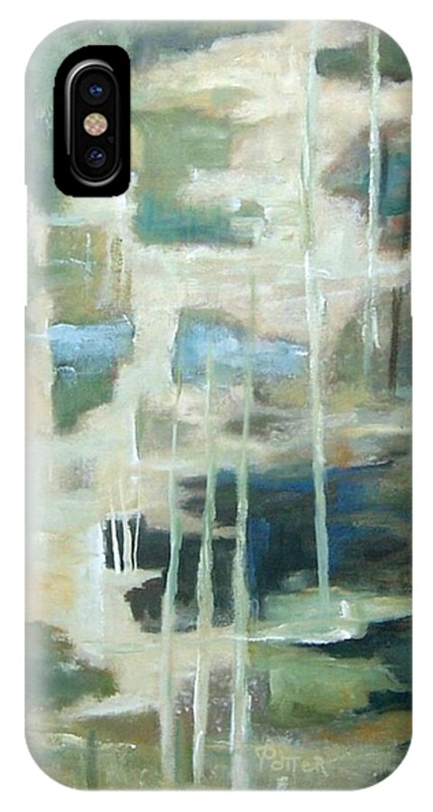 Abstract IPhone X Case featuring the painting A Walk In The Woods by Virginia Potter