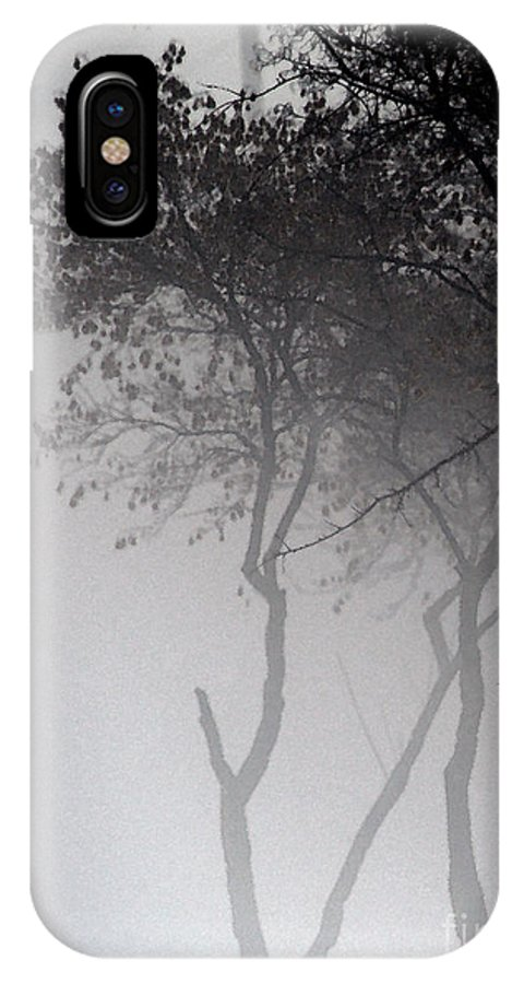 Trees IPhone X Case featuring the photograph A Walk Through The Mist by Linda Shafer
