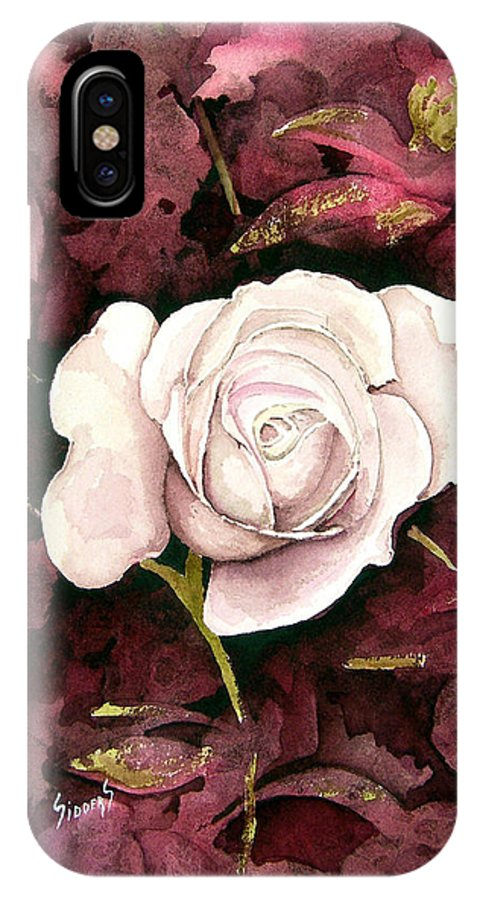 Flower IPhone X Case featuring the painting A White Rose by Sam Sidders