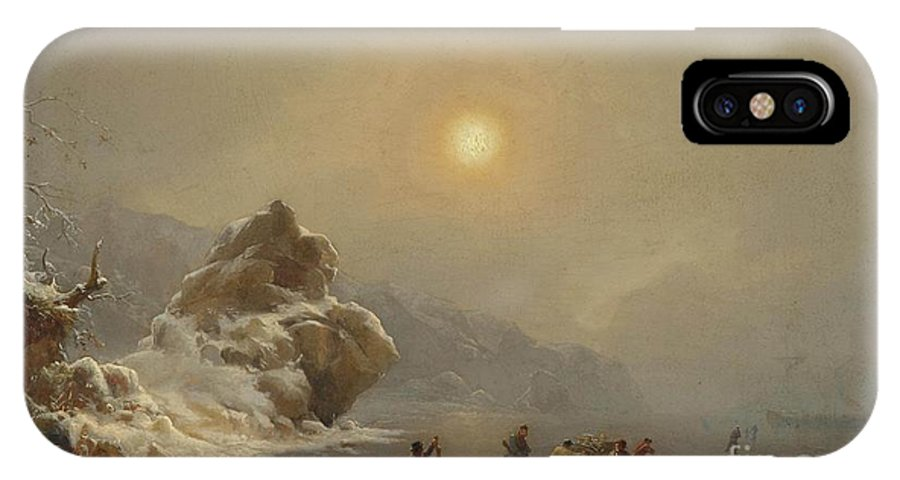 Andreas Achenbach - A Winter Landscape With Hunters On The Ice IPhone X Case featuring the painting A Winter Landscape With Hunters On The Ice by Celestial Images