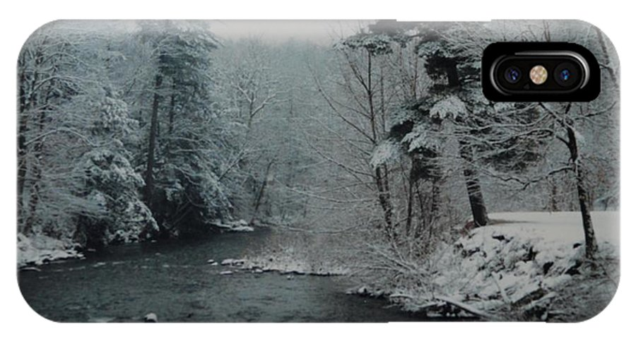 B&w IPhone Case featuring the photograph A Winter Waterland by Rob Hans