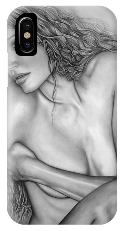 A Woman's Beauty IPhone X Case featuring the drawing A Womans Beauty by Larry Lehman
