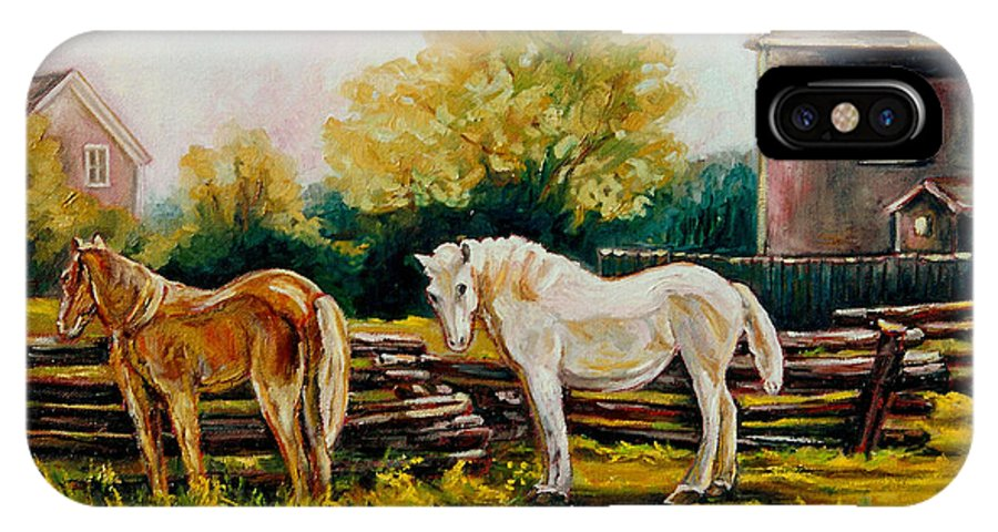 Horses IPhone X Case featuring the painting A Wonderful Life by Carole Spandau