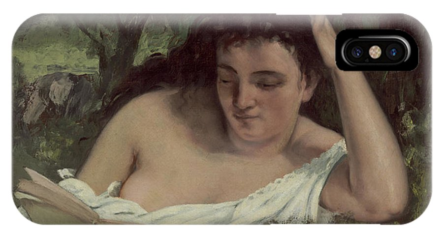 IPhone X Case featuring the painting A Young Woman Reading by Gustave Courbet