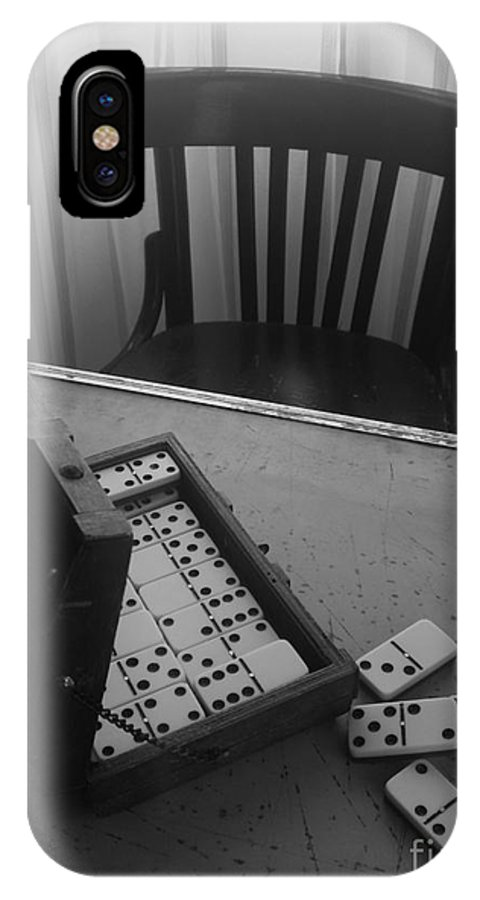 Domino Chair Wood Black And White IPhone X Case featuring the photograph Abandoned Domino Set by Mina Milad