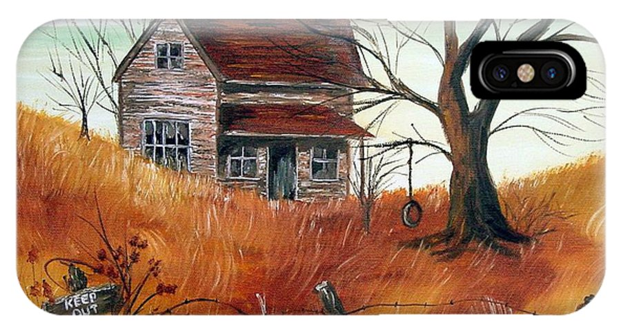 Landscape IPhone X / XS Case featuring the painting Abandoned Farmhouse by Quwatha Valentine