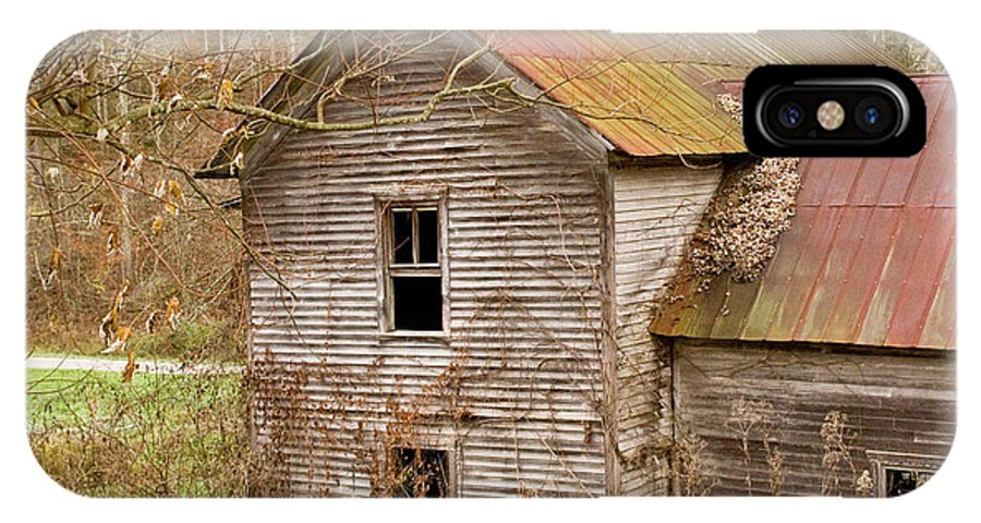 Abandoned IPhone X Case featuring the photograph Abandoned House With Colorful Roof by Douglas Barnett