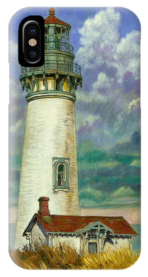 Lighthouse IPhone X Case featuring the painting Abandoned Lighthouse by John Lautermilch