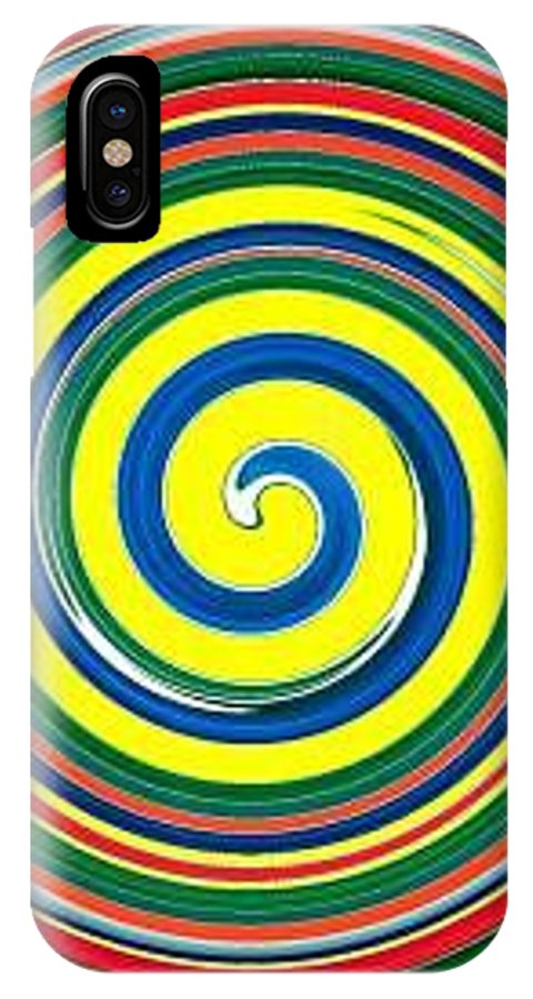 Digital Spiral IPhone X Case featuring the painting Abb1 by Andrew Johnson