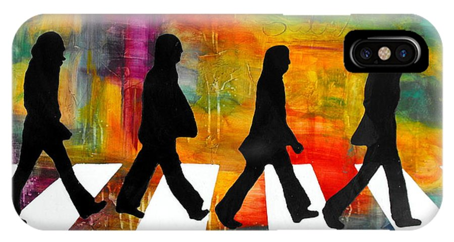 Music IPhone X Case featuring the mixed media Abbey Road by Ivan Guaderrama