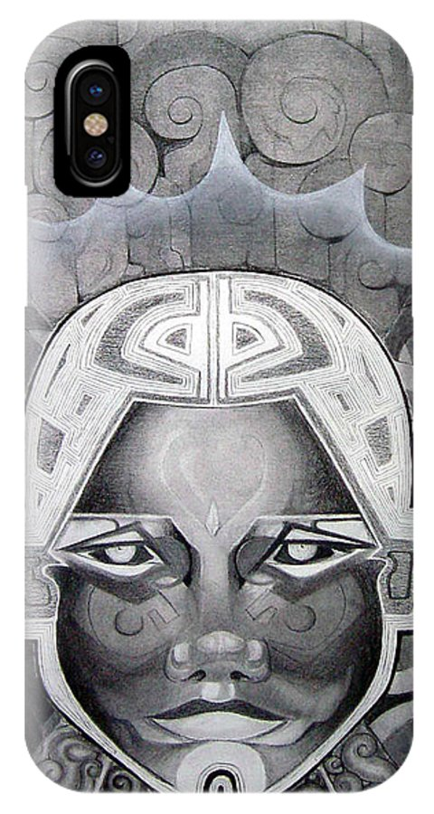 Art IPhone X Case featuring the drawing Abcd by Myron Belfast