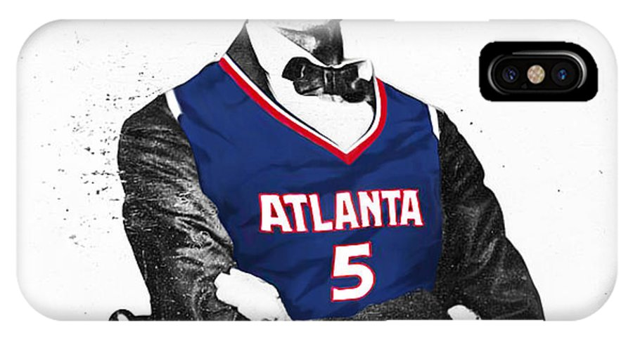 Josh Smith Artwork IPhone X Case featuring the digital art Abe Lincoln In A Josh Smith Atlanta Hawks Jersey by Roly O