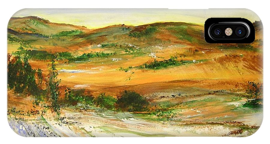 Landscape IPhone X / XS Case featuring the painting Aberdeen Winter Landscape by Lizzy Forrester