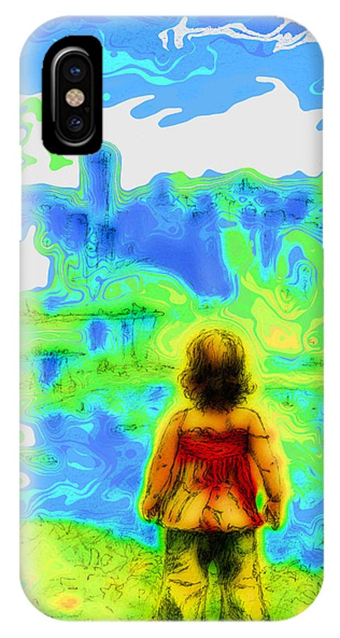 Drawing IPhone X / XS Case featuring the mixed media Above The Clouds - A Fantasy Artwork With A Girl Looking Towards Something Mysterious by Alexandra Cook