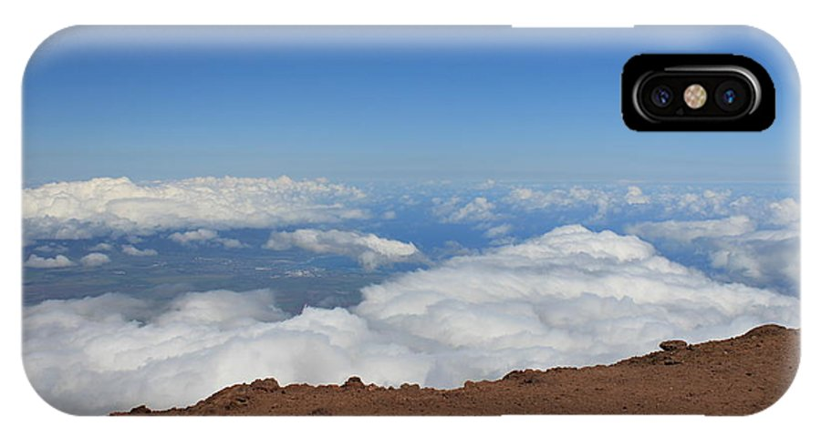 Haleakala Summit Crater Volcano Maui Hawaii IPhone X Case featuring the photograph Above The Clouds by Christopher Lefor