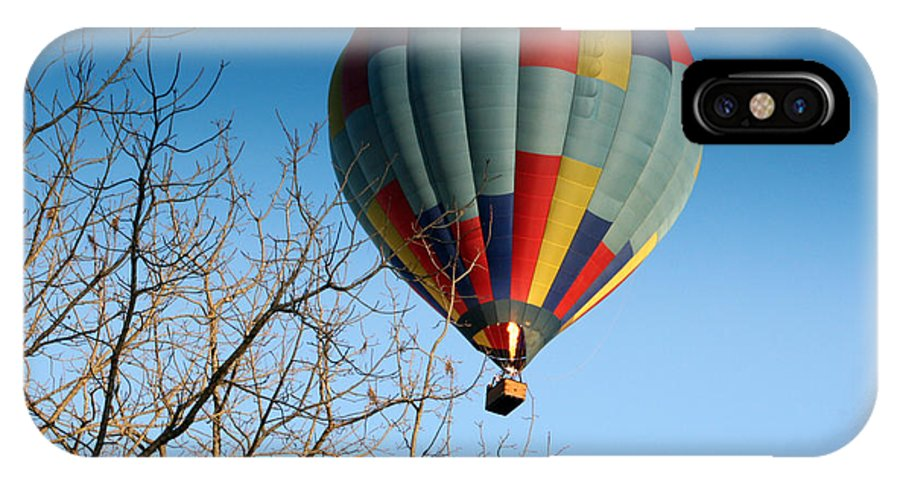 Hot Air Balloon IPhone X Case featuring the photograph Above The Tree Tops by George Jones