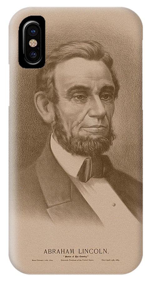 Abraham Lincoln IPhone X Case featuring the drawing Abraham Lincoln - Savior Of His Country by War Is Hell Store