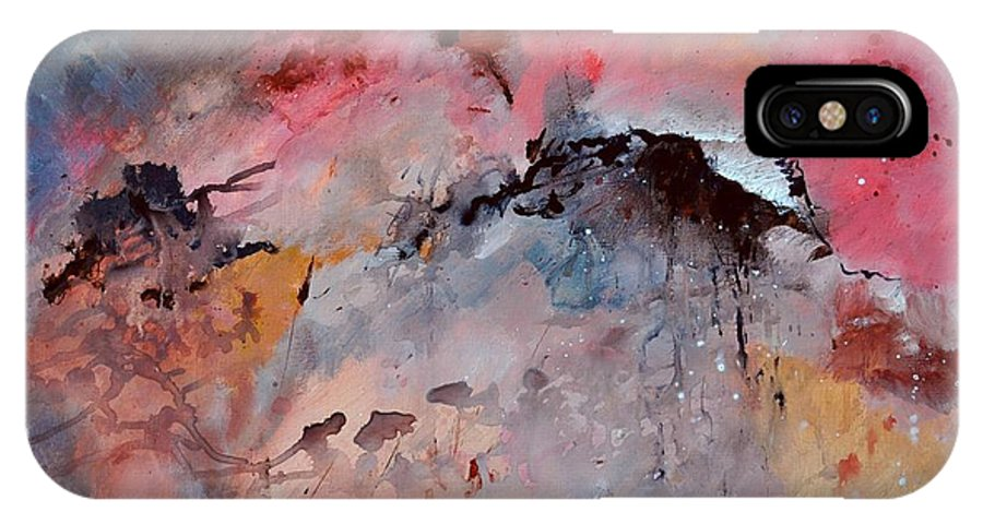 Abstract IPhone X Case featuring the painting Abstract 015082 by Pol Ledent