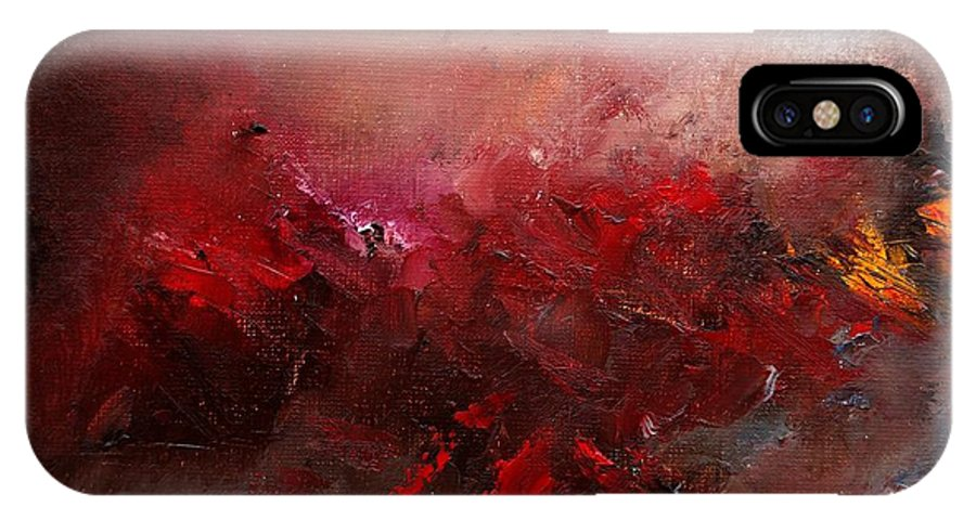 Abstract IPhone Case featuring the painting Abstract 056 by Pol Ledent