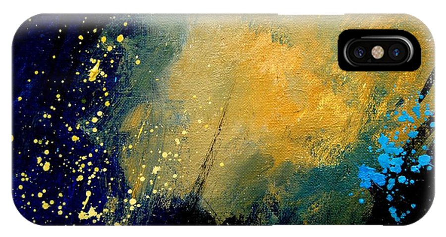 Abstract IPhone X Case featuring the painting Abstract 061 by Pol Ledent