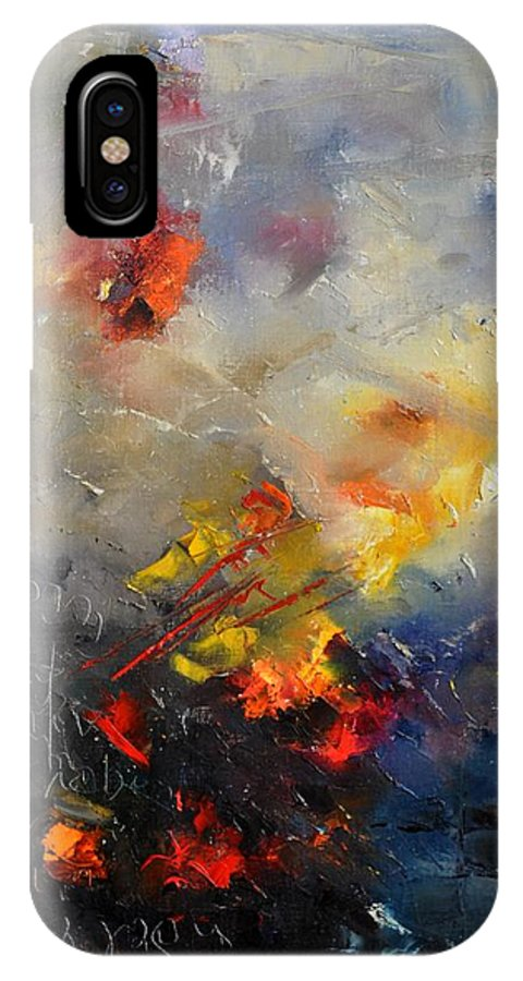 Abstract IPhone X Case featuring the painting Abstract 0805 by Pol Ledent